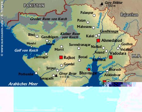 Südasien Karte.Suedasien Info Gujarat
