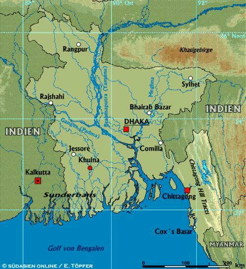 Südasien Karte.Suedasien Info Bangladesch Land